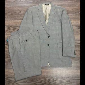 Paul Stuart Grey Glen Plaid Suit 43L Long